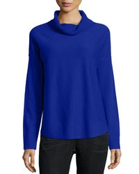 Eileen Fisher | Blue Cozy Wool Cowl-neck Top | Lyst