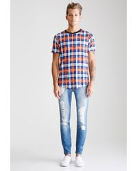 Forever 21 - Multicolor Abstract Plaid Printed Tee You've Been Added To The Waitlist for Men - Lyst