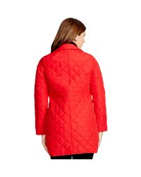 Ralph Lauren - Red Diamond-quilted Full-zip Coat - Lyst