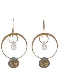 Melissa Joy Manning | Metallic Gold Rainbow Moonstone And Labradorite Two Drop Earrings | Lyst