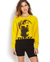 Forever 21 - Yellow Tupac Cropped Cutoff Sweatshirt - Lyst