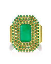 Irene Neuwirth | Green 18k Yellow Gold Cuff Set with Emerald Cabochon Cut Chrysoprase Diamond Pave | Lyst