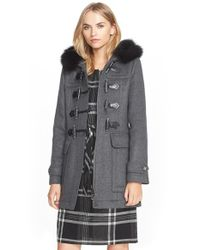 Burberry Brit - Gray 'blackwell' Wool Duffle Coat With Genuine Fox Fur Trim - Lyst