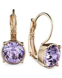 Nine West - Purple Gold-Tone Violet Crystal Drop Earrings - Lyst