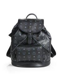 MCM - Black Heritage Medium Coated-canvas Backpack - Lyst