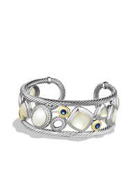 David Yurman - Mosaic Cuff with White Agate Diamonds and Gold - Lyst