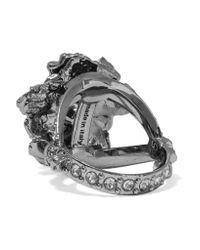 Alexander McQueen | Metallic Floral Gunmetal-tone Swarovski Crystal Ring | Lyst