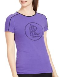 Lauren by Ralph Lauren | Purple Stretch-jersey Logo Tee | Lyst