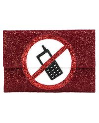 Anya Hindmarch - Red 'no Phone' Glitter Clutch - Lyst