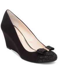 Jessica Simpson | Black Sammi Bow Wedge Pumps | Lyst
