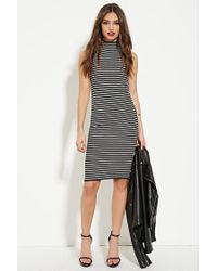 e18b3f3a1ff4 Forever 21. Women's Black Striped High-neck Dress You've Been Added To The  Waitlist
