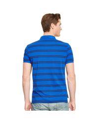 Polo Ralph Lauren - Blue Custom-fit Striped Mesh Polo for Men - Lyst