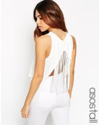 ASOS | Black Festival Vest In Crepe With Fringe Back | Lyst