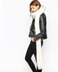 ASOS - Natural Chunky Scarf In Hand Knit With Roll Hem - Lyst