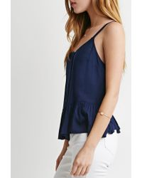 Forever 21 - Blue Buttoned Babydoll Cami - Lyst