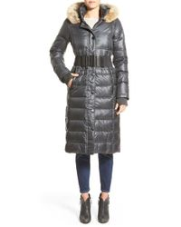 Rudsak | Gray 'genie' Hooded Down Coat With Genuine Coyote Fur Trim | Lyst