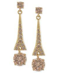 Carolee | Metallic Gold-tone Glass Bead Linear Drop Earrings | Lyst