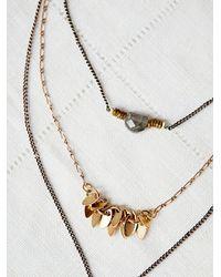Free People | Metallic Luxe Triple Necklace | Lyst