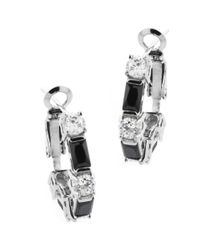 Lord & Taylor | Metallic Sculpted Sterling Silver Earrings With Cubic Zirconia And Stone Embellishments | Lyst