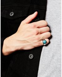 ASOS - Pinky Ring With Blue Stone for Men - Lyst