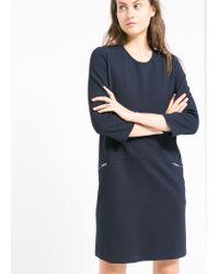 Mango - Blue Zip Shift Dress - Lyst