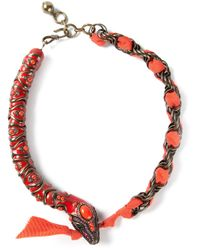Lanvin - Red Snake Necklace - Lyst