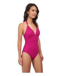 Lauren by Ralph Lauren | Pink Laguna Solids Tie Back Halter Mio One-piece | Lyst