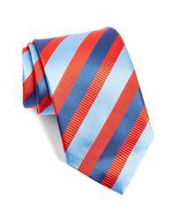 David Donahue - Blue Stripe Silk Blend Tie for Men - Lyst