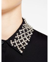 DKNY - Black Dress With Embellished Collar - Lyst