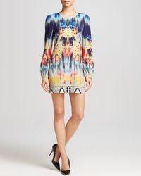 Twelfth Street Cynthia Vincent | Multicolor Printed Long-Sleeve Silk Mini Dress | Lyst