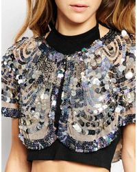 Raga - Natural Embellished Cape Style Top With Short Sleeves - Lyst