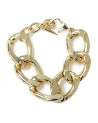 Fallon | Metallic Oversized Biker Chain Bracelet Gold | Lyst
