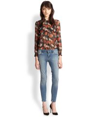 The Kooples - Orange Floralprint Sheer Chiffon Shirt - Lyst