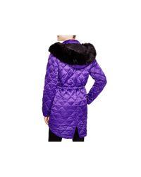 Pink Pony   Purple Lauren Faux Fur Trim Coat - 100% Bloomingdale's Exclusive   Lyst