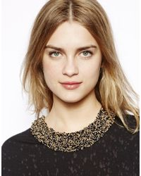 Pull&Bear - Pull Bear Necklace with Gold Black Beads - Lyst