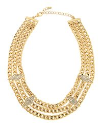 Fragments | Metallic Triple-layered Pave Crystal Station Necklace | Lyst