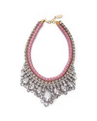 Adia Kibur - Pink Crystal Adorned Choker Necklace  White - Lyst