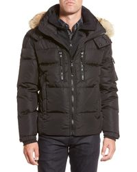 Sam. - Black 'matte Mountain' Quilted Down Jacket With Genuine Coyote Fur for Men - Lyst