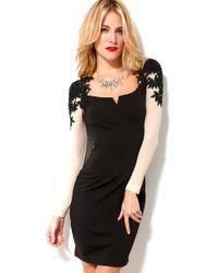 Little Mistress | Black Sheer Detail Sleeve Bodycon Dress | Lyst