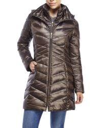 Ellen Tracy - Metallic Hooded Iridescent Down Puffer Coat - Lyst
