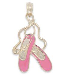 Macy's | Pink Enamel Ballet Slipper Charm In 14k Gold | Lyst