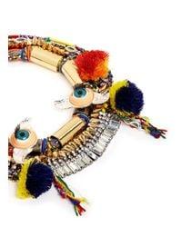 Venna - Multicolor Doll Eye Pompom Crystal Spike Threaded Necklace - Lyst