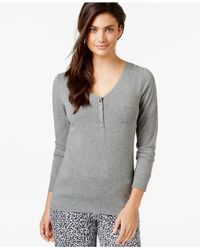 DKNY - Gray Long-sleeve Pajama Top - Lyst