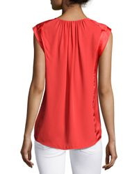 Halston - Orange Sleeveless Ruched-detail Top - Lyst