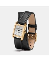 COACH | Black Thompson Gold Plated Double Wrap Watch | Lyst