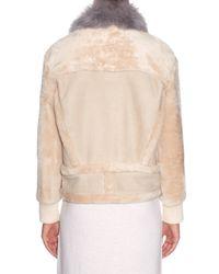 Tibi - Natural Contrast-collar Shearling Jacket - Lyst