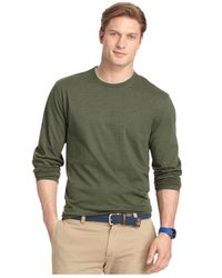 Izod | Green Long-sleeve Jersey Crew Shirt for Men | Lyst