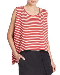 Free People | Red Cropped Striped Tank Top | Lyst