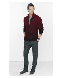 Express - Red Shawl Collar Cable Knit Toggle Cardigan for Men - Lyst
