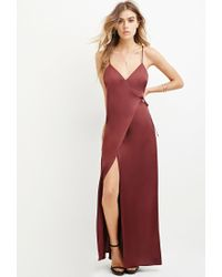 Forever 21 | Purple Satin Wrap Maxi Dress | Lyst